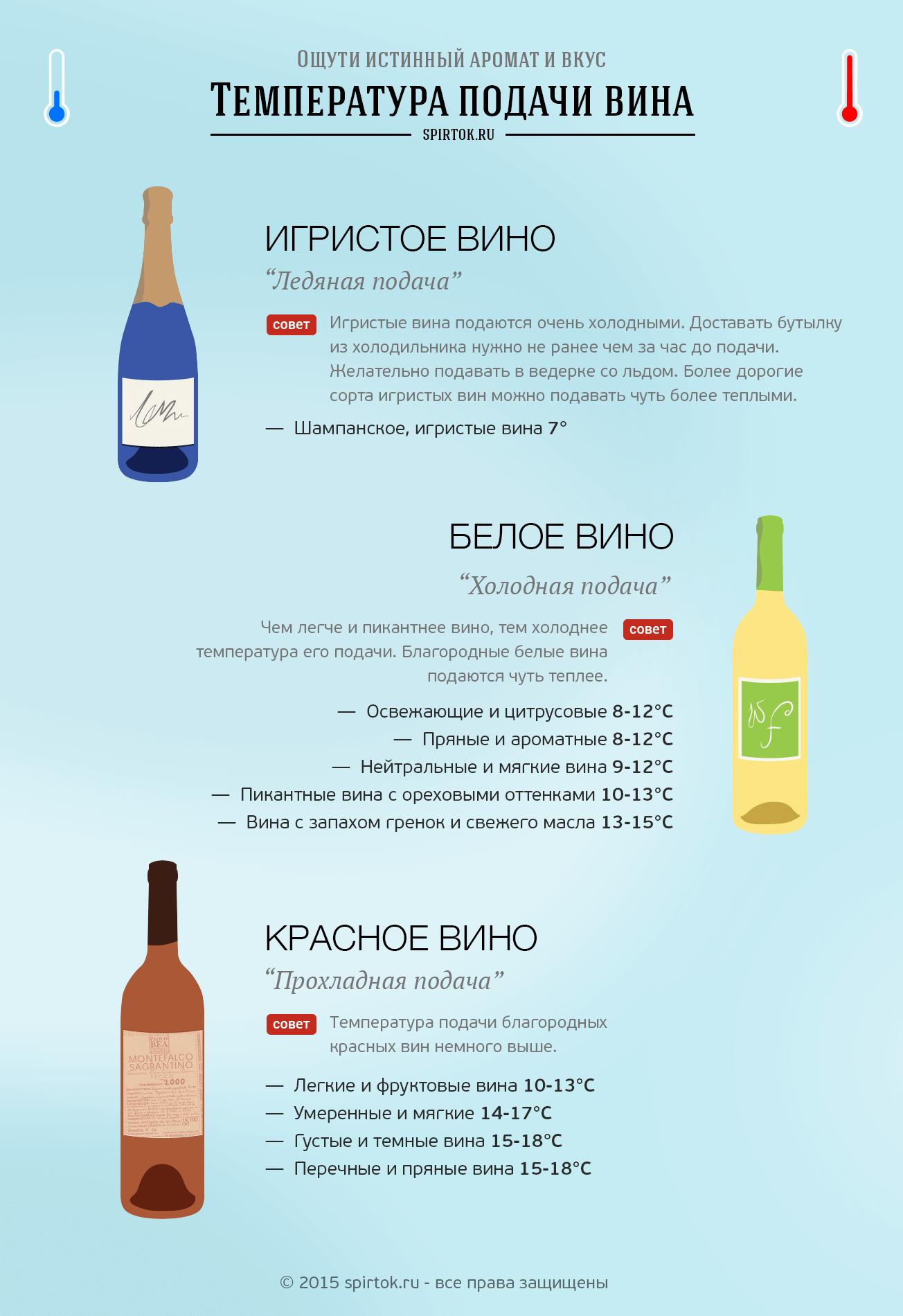 температура подачи вина инфографика