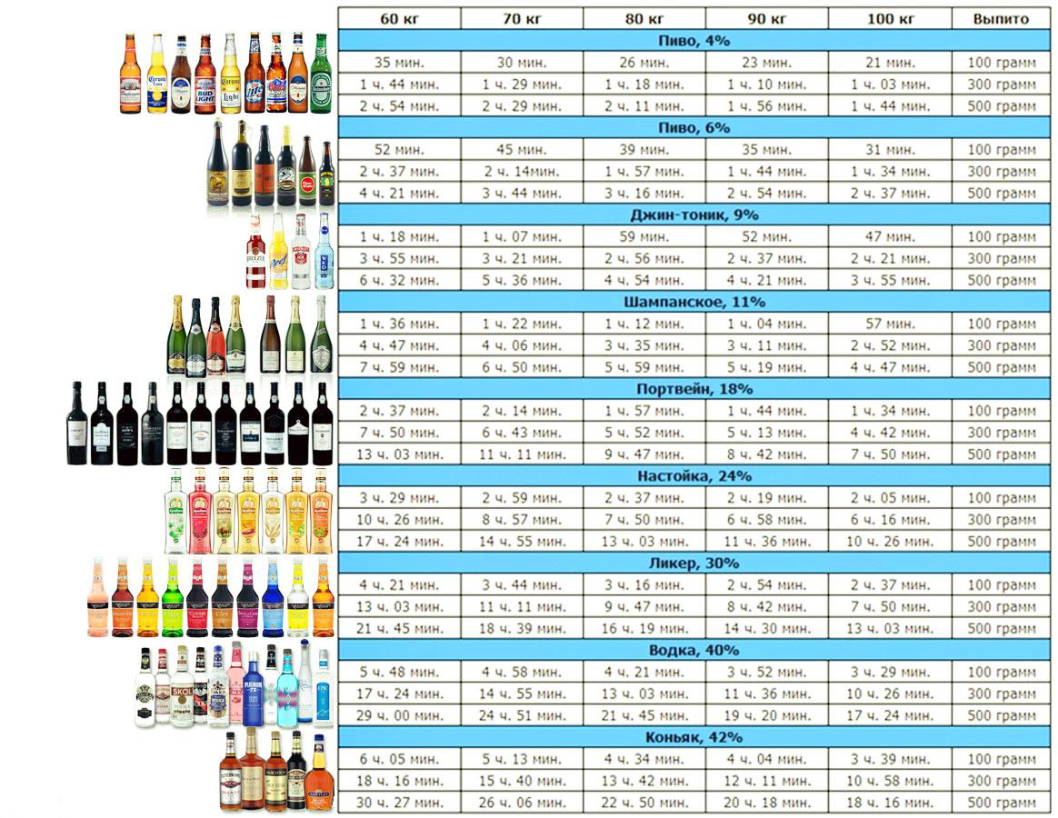 Время выведения алкоголя из организма человека