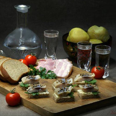 Закуска к водке бутерброды (с сыром, колбасой, мясом
