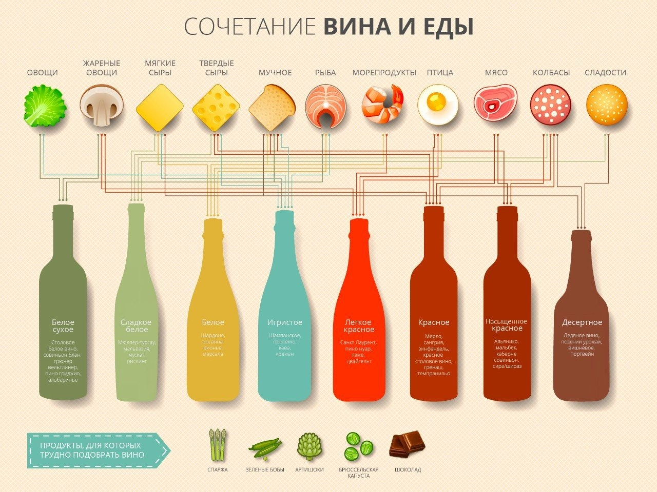 Инфографика закуски для вина сочетание вкусов